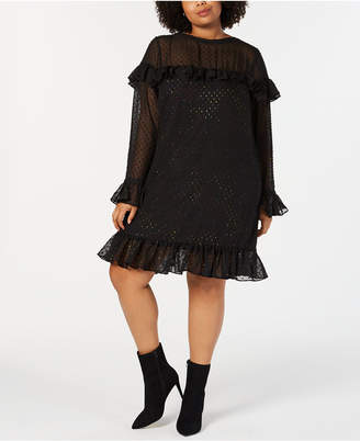 Betsey Johnson Trendy Plus Size Metallic Dot Dress