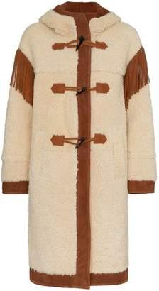 Philosophy di Lorenzo Serafini Shoulder fringe shearling coat
