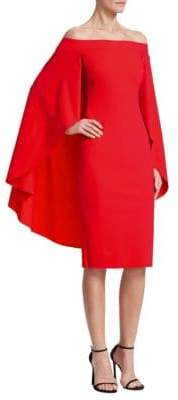 Chiara Boni Off-The-Shoulder Cape Dress
