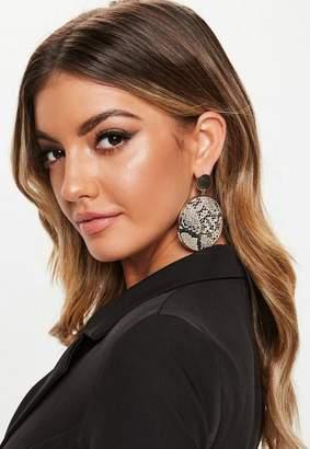 Missguided Brown Snake Print Drop Disc Earrings