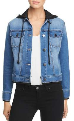 Kenneth Cole Layered-Effect Hooded Denim Jacket