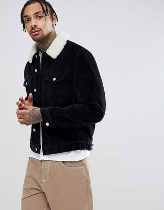 Asos DESIGN cord western jacket with fleece collar in black