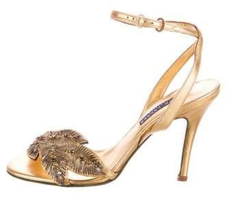 Ralph Lauren Embellished Ankle Strap Sandals