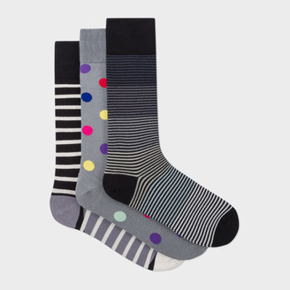 Men's Grey Mixed-Stripe And Polka Dot Socks Three Pack $75 thestylecure.com