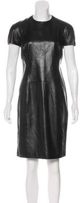 Ralph Lauren Black Label Leather Short Sleeve Dress