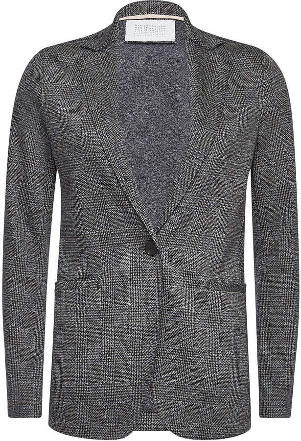 Houndstooth Blazer with Virgin Wool and Cotton