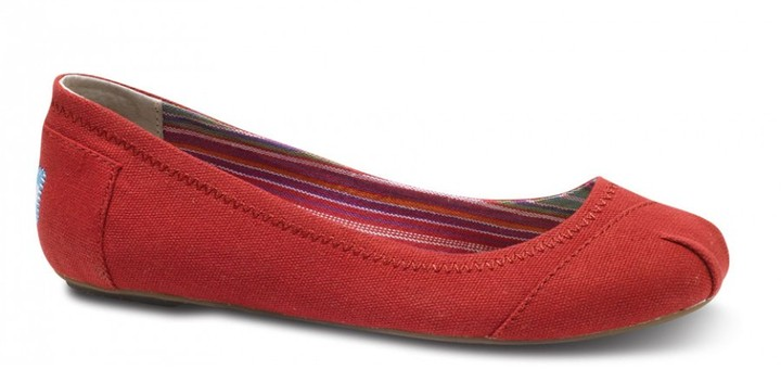 Red canvas ballet flats