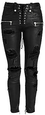 Unravel Project Women's Distressed Leather Lace-Up Skinny Jeans