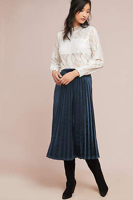 Just Female Pleated Velvet Midi Skirt