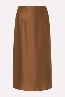 Vince Silk-satin Midi Skirt - Brown