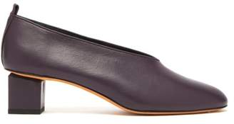 Gray Matters - Mildred Block Heel Leather Pumps - Womens - Plum