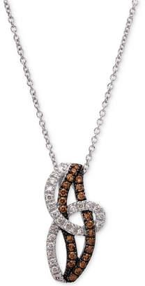 "LeVian Le Vian Chocolatier Diamond Swirl 18"" Pendant Necklace (3/8 ct. t.w.) in 14k White Gold"