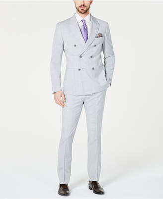 Tallia Men Slim-Fit Stretch Heather/Gray Melange Double-Breasted Suit