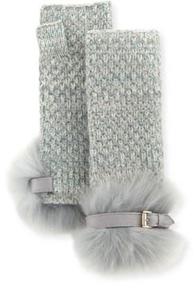 Portolano Cashmere Fingerless Gloves w/ Fur & Buckle Cuffs