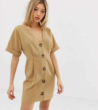 Asos DESIGN Petite button through mini wiggle dress