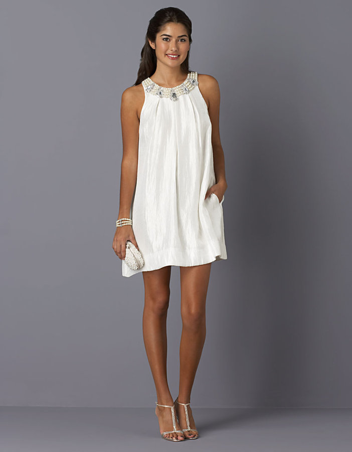 ALEXIA ADMOR Sleeveless Beaded Trapeze Dress
