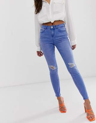 Lipsy skinny jean with ripped knee details in bright blue