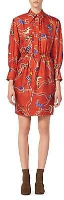 Sandro Women's Bootsy Printed Silk Shirtdress