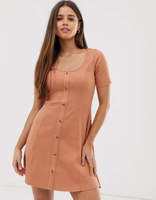 Asos Design DESIGN short sleeve ribbed button through tea dress