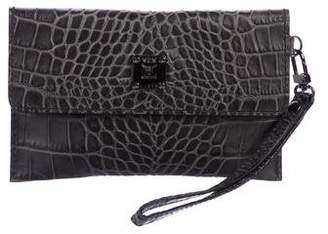MCM Embossed Leather Wristlet Clutch