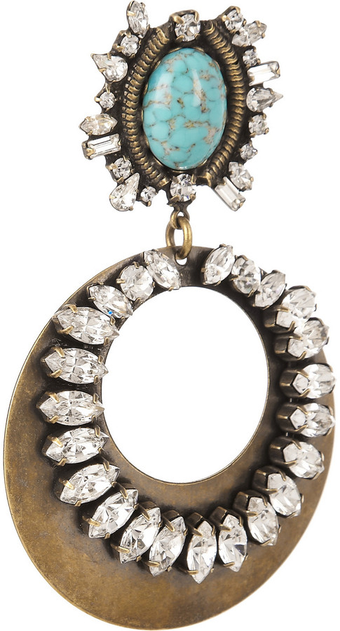 Dannijo Sade oxidized brass Swarovski crystal earrings