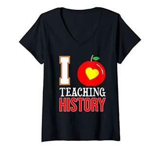 Womens I Love Teaching History-High School Teacher-Back To V-Neck T-Shirt