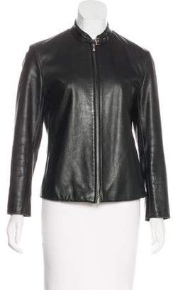 Armani Exchange Leather Zip-Up Jacket