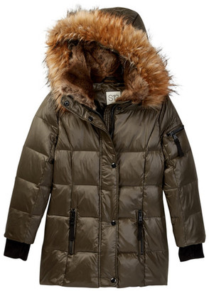 S13 Chelsea Faux Fur Hooded Gloss Down Coat (Toddler & Little Girls) $180 thestylecure.com