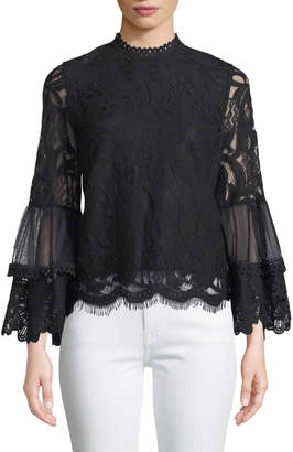 Lumie Romantic Lace Bell-Sleeve Top