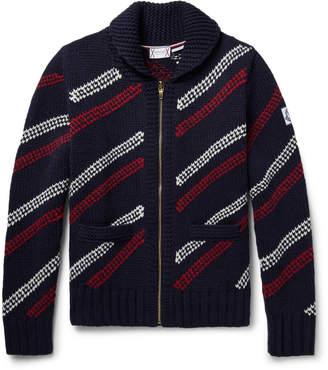 Moncler Gamme Bleu Jacquard-Knit Wool Zip-Up Cardigan