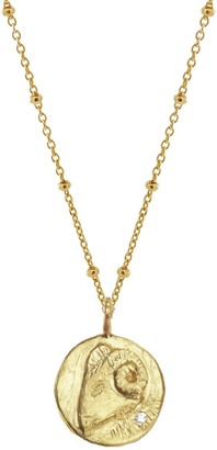 Yvonne Henderson Jewellery Gold Zodiac Necklace With White Sapphire - Aries