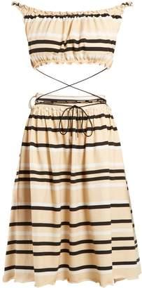 J.W.Anderson Off-the-shoulder striped cotton dress