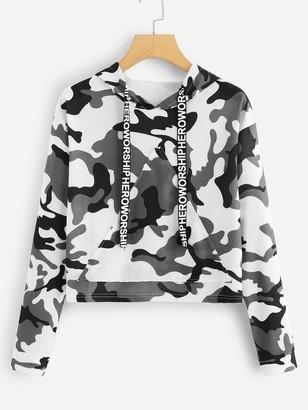 Shein Letter Tape Camo Print Hooded Sweatshirt