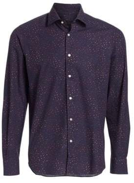 Saks Fifth Avenue COLLECTION Speckled Print Cotton Shirt