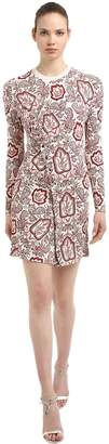 Paco Rabanne Printed Stretch Jersey Dress W/ Ruffle