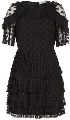 Sandro Frilled Lace Dress
