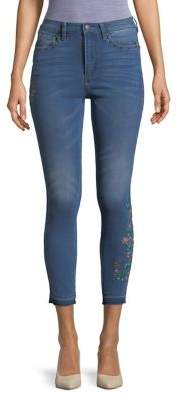 Buffalo David Bitton Skinny Floral-Embroidered Ankle Jeans