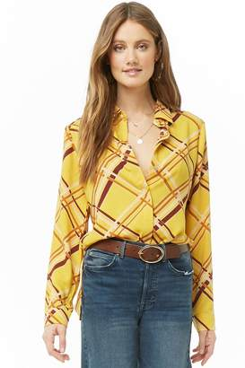 Forever 21 Lattice Print Button-Down Shirt