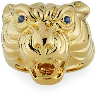 Sydney Evan 14k Tiger Ring w/ Sapphires, Size 7