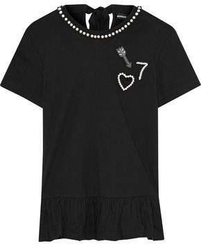 Markus Lupfer Torunn Embellished Cotton-Jersey Peplum T-Shirt