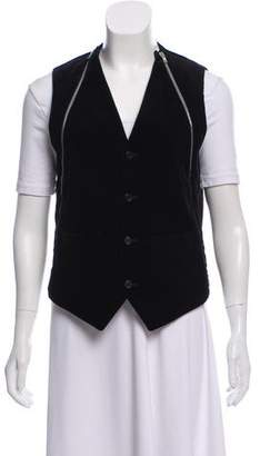 Givenchy Velvet Button-Up Vest w/ Tags
