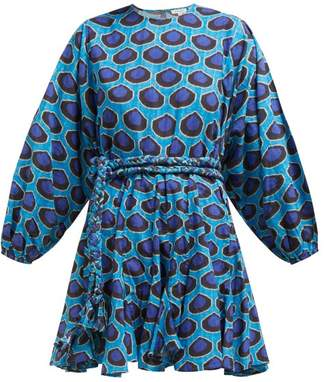 Rhode Resort Ella Ikat Print Flared Cotton Poplin Dress - Womens - Blue Print