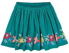 John Lewis Girls' Embroidered Pleated Skirt, Green