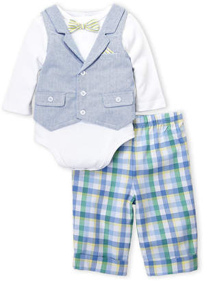 Little Me Newborn Boys) Two-Piece Handsome Vested Bodysuit & Plaid Pants Set