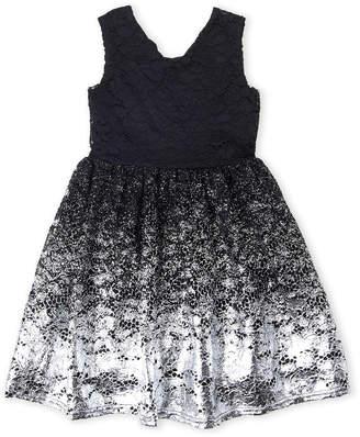 Blush by Us Angels Girls 7-16) Metallic Lace Cutout Dress