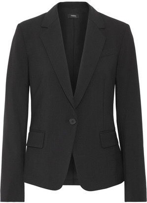 Theory - Gabe Wool-blend Crepe Blazer - Black $485 thestylecure.com