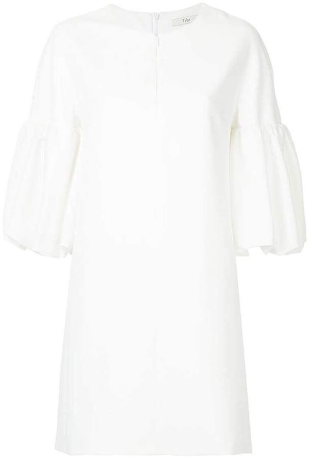 balloon sleeve crepe dress