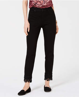 Style&Co. Style & Co Petite Lace-Trimmed Skinny Jeans