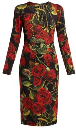 Dolce & Gabbana Rose Print Silk Blend Crepe Dress - Womens - Black Multi