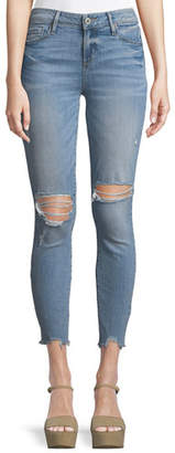 Paige Hoxton Distressed Skinny Ankle Jeans w/ Worn-In Hem